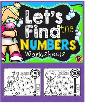 Number Identification Bubble Fun Worksheets