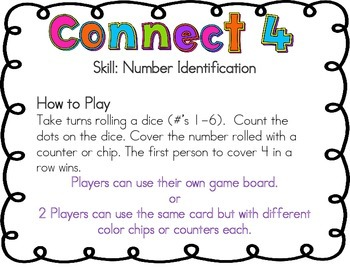 Number Identification # 1-6 Dice Game