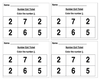 Number Identification Exit Ticket