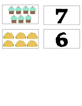 Number Identification Food Matching Cards
