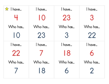 Number Identification Game - I have... who has?
