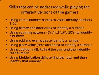 Number Identification Games!!! Numbers 1-50 7 Versions!!