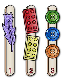 Number Identification Glitter Sticks