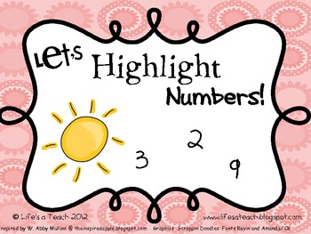 Number Identification Highlighting Activity Pages