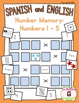 Number Identification: Math Memory Game with 1-5 FREEBIE (Spanish and English)