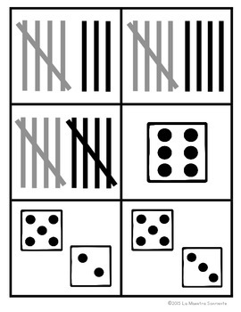 Number Identification: Math Memory Game with 6-10 (Spanish and English)