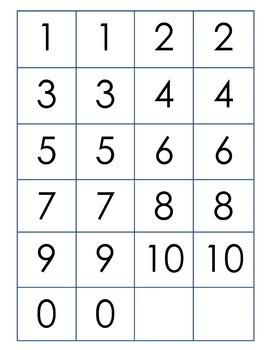 Number Identification Memory Game