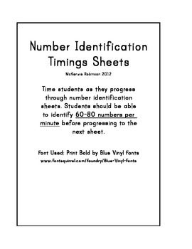 Number Identification Timings 0-10