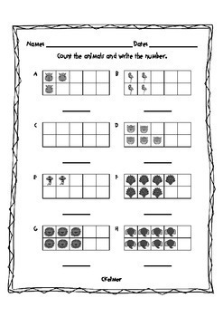 Number Identification and Counting Packet Zoo Animals Theme