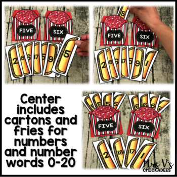 Number Identification and Number Word Center: Find the Fries