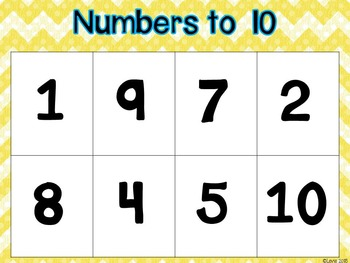 Number Identification to 20 Small Group Bingo