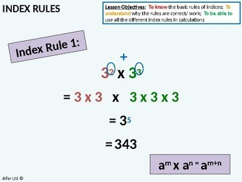 Number: Index Notation / Rules 1 - Introduction & Basic Rules (+ Activity)