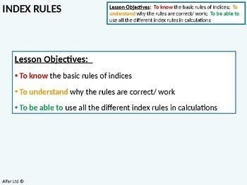 Number: Index Notation / Rules 2 - Parentheses & Negatives (+ resources)