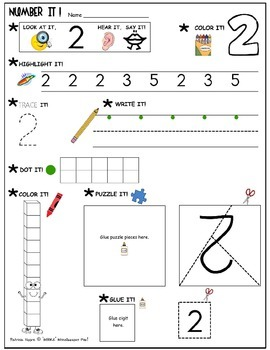 """Number It!"" – Activity Sheets for numbers 1-10"