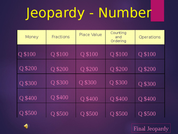 Number Jeopardy