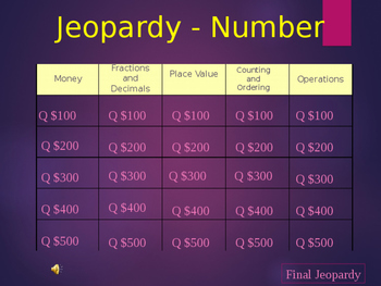 Number Jeopardy 3rd-4rd Grade
