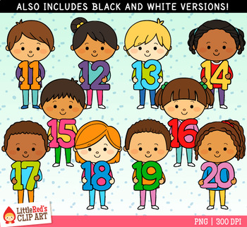 Number Kids 11-20 Clip Art
