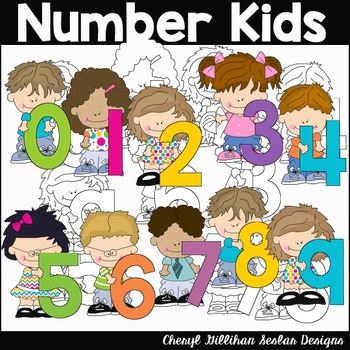 Number Kids Clipart Collection