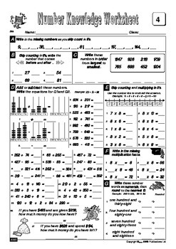 Number Knowledge - Book 6 FREE Sample Worksheets