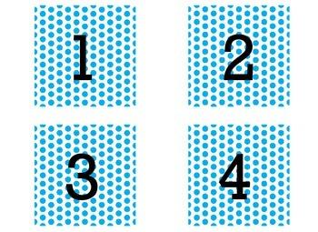 Number Label-Blue Polka Dots