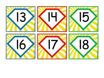 Number Label Tags with Super Hero Theme for Classroom Decor