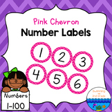 Number Labels 1-100 ~ Pink Chevron