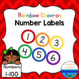 Number Labels 1-100 ~ Rainbow Chevron