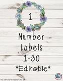 Number Labels 1-30 *EDITABLE* - Succulent