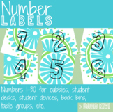 Number Labels 1-30 in Boho Kiwi