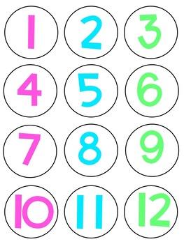 Number Labels 1-36