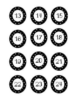 Number Labels - Black Polka Dots