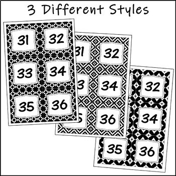 Number Labels - Black and White