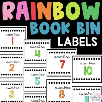 Number Labels - Book Bins - Black and Bright