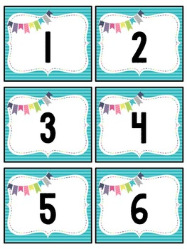 Number Labels: Editable, Bright Patterns, Classroom Decor