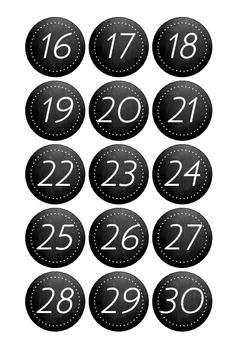 Number Labels Chalkboard 1 -30