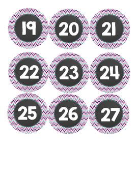 Number Labels- Chalkboard/Purple/Teal
