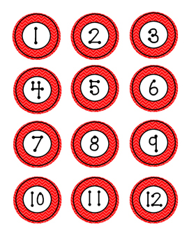 Number Labels - Chevron/Red