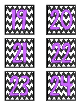 Number Labels- Chevron with Purple