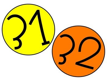 Number Labels- Citrus Colors