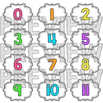 Number Labels - Classroom Decor - Neon Brights