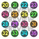Number Labels - Classroom Decor - Neon Brights Chalkboard