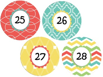 Number Labels: Coral, Blue, Yellow & Chevron