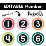 Number Labels   EDITABLE   Student Number Labels