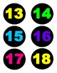 Number Labels (Neon and Black)