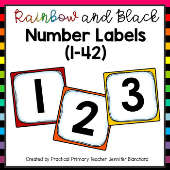 Number Labels Rainbow and Black