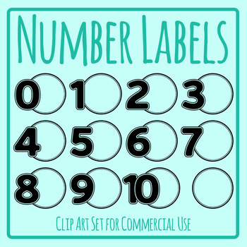 Number Labels Templates Clip Art Set for Commercial Use