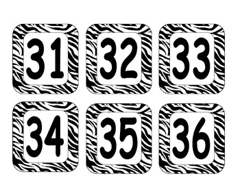 Number Labels- Zebra Print