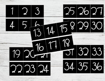 Editable Number Labels for Target Adhesive Pockets (Shiplap, B&W)