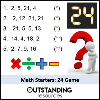 Number: Lesson Starters (bundle of 38)  based on the '24' Game
