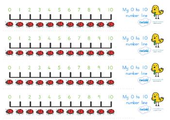 Number Line 0-10 Minibeasts